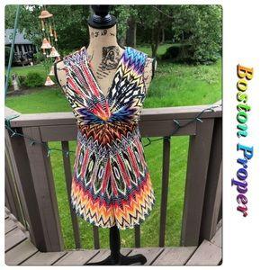 Boston Proper Sleeveless Multi Colored Top